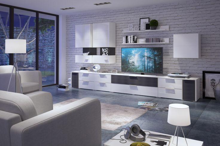 Meble Median wyposażone są w przemyślane rozwiązania ułatwiające codzienne użytkowanie, jak prowadnice i zawiasy z cichym domykiem czy delikatne oświetlenie LED. #meble #furniture #design #livingroom #salon #median #white #inspiration