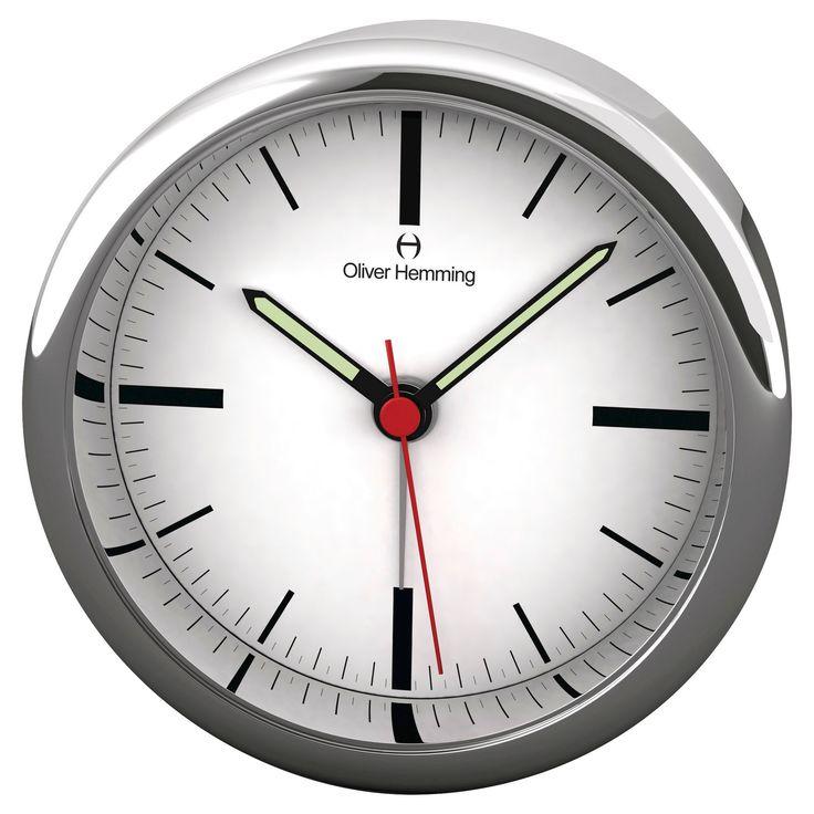 Light and Contemporary Alarm Clock Chrome (Grey) - Oliver Hemming