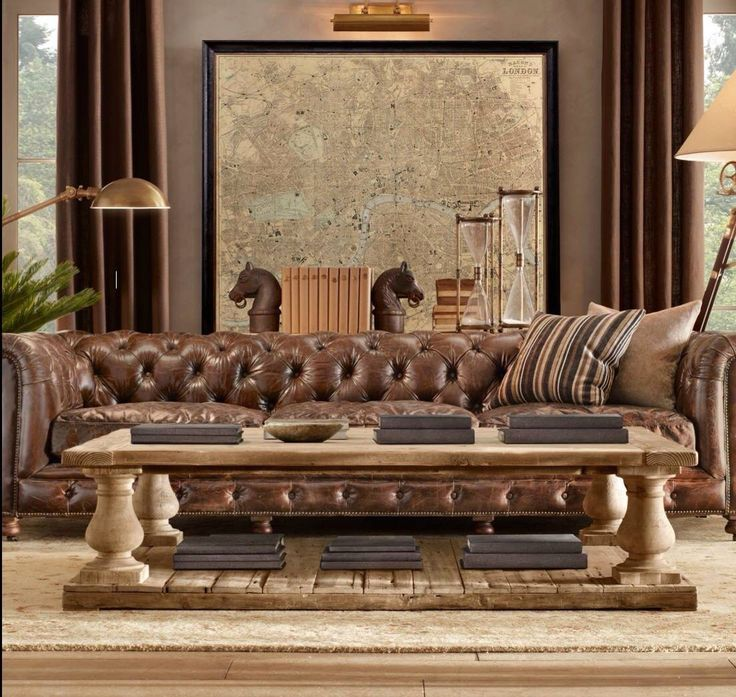 Industrial Coffee Table London: Living Capitone Chesterfield