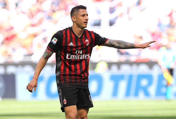 Gianluca Lapadula of AC Milan gestures during the Serie A match between AC Milan and Empoli FC at Stadio Giuseppe Meazza on April 23, 2017 in Milan, Italy.