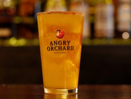 Angry Apple Pie cocktail, in a pint glass: 1 oz Amaretto, 1 oz orange juice, splash of cinnamon schnapps, fill with Angry Orchard Crisp Apple. Rimmed with cinnamon sugar!