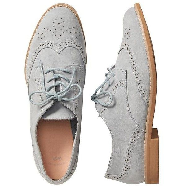 Gap Women Perforated Oxfords ($18) ❤ liked on Polyvore featuring shoes, oxfords, gap shoes, laced up shoes, faux suede shoes, lace up oxfords and perforated oxford shoes