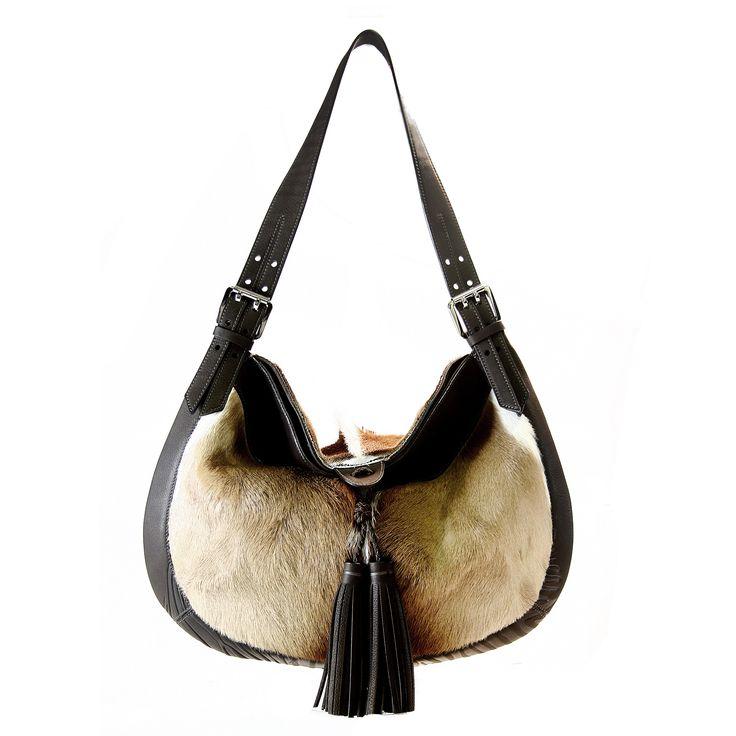 genuine springbok and nappa leather handbag - Via Veneta UNTAMED