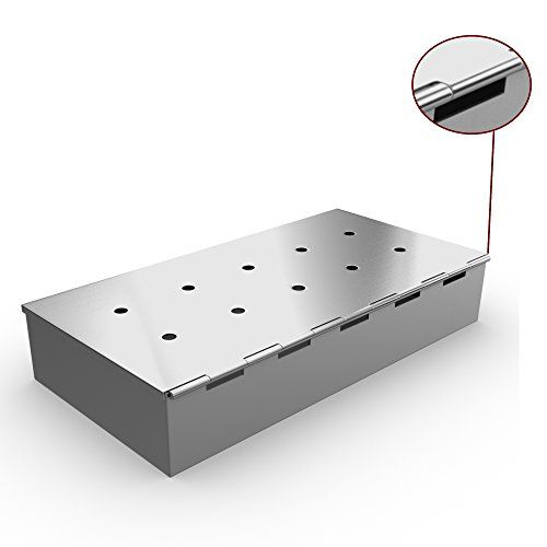 Smoker Box for BBQ Grill Wood Chips - 25% THICKER STAINLESS STEEL WON'T WARP - Charcoal & Gas Barbecue Meat Smoking with Hinged Lid - Best Grilling Accessories & Utensils Gift for Dad by Cave Tools ** You can get additional details at the image link.