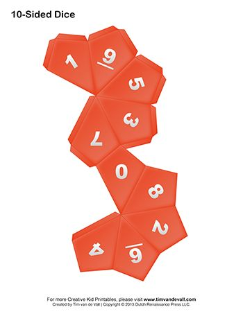 Printable 10-Sided Dice Template