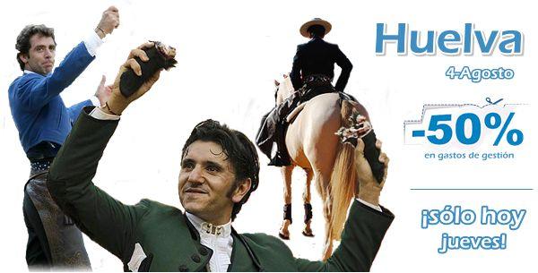 Empezamos agosto a lo grande... ¡50% DE DESCUENTO Toroticket para la gran corrida de rejones en Huelva con Hermoso de Mendoza, Diego Ventura y Andrés Romero!¡Sólo durante el día de hoy!  http://www.toroticket.com/67-entradas-toros-huelva