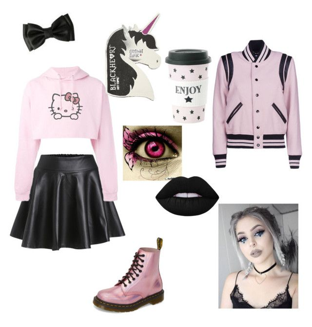 """""""pastel goth"""" by halsey-iero ❤ liked on Polyvore featuring Hello Kitty, Dr. Martens, Lime Crime, Miss Étoile and Yves Saint Laurent"""