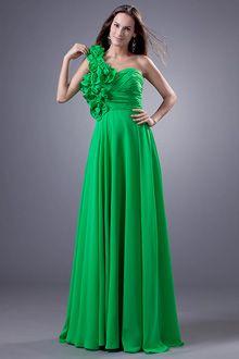 Evening dress emerald green jade