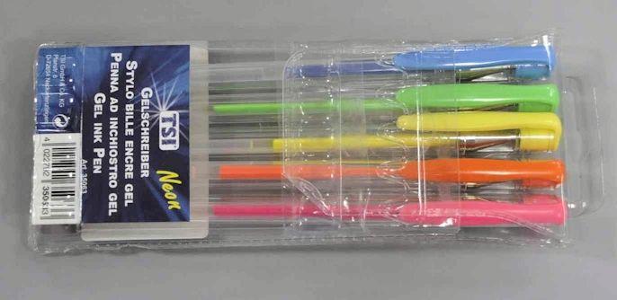 Pix cu gel scrie in culori neon. 5 buc la set. art.-nr: 00065. Lei 10.-