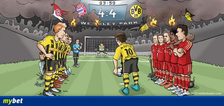 Morgen ist es soweit! Borussia Dortmund gegen den FC Bayern München im Champions League Finale in Wembley! Wir freuen uns für Mario Götze, dass dieses Szenario definitiv nicht eintreffen kann. Euch ein packendes Spiel!