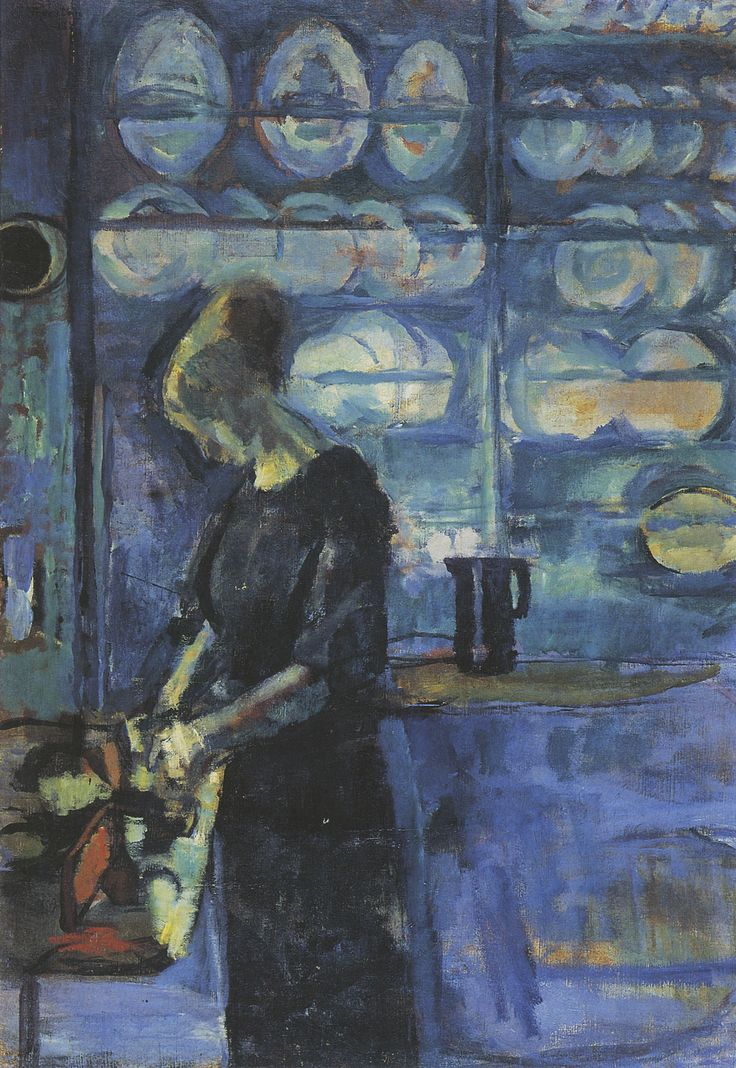 "huariqueje: "" From my blue kitchen - Ludvig Karsten , 1913 Norwegian, 1876-1926 Oil on canvas, """