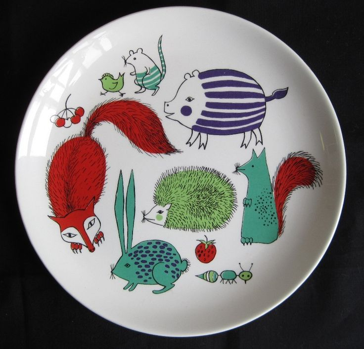Vintage 60s Arabia Finland Children's Plate Animals: Beautiful illustrations in…