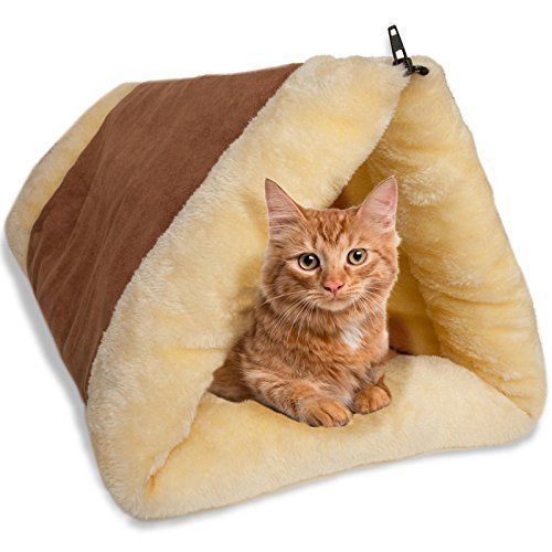 Cat Pet Small Dog Bed Kitty Fleece 2 in 1 Soft Warm Sleeping Pyramid Brown New #PetBed