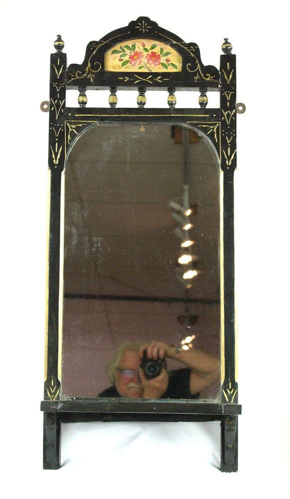details about wall mirror antique victorian mirror ebonized wood rh pinterest com