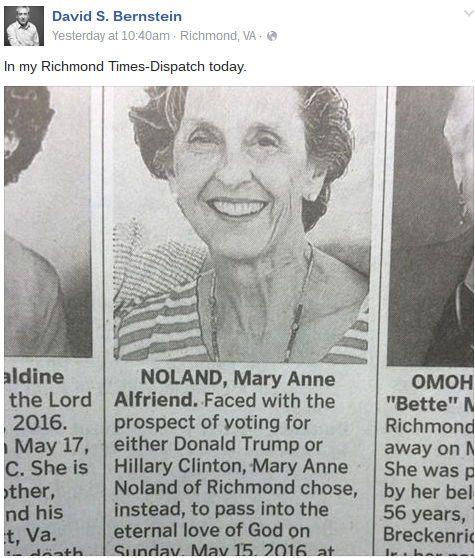 """Ce genre d'histoires de morts voulant échapper à un changement politique majeur se révèle bien souvent être des fakes, mais cette fois, le site Snopes (spécialisé dans les """"hoaxes"""") révèle que la famille de Mary Anne a vraiment dicté ces mots au Richmond Times-Dispatch, un journal de Virginie, pour son édition du 17 mai 2016. Le seul élément qui prêtait à confusion était la cause du décès, mais Mary Anne est donc partie de mort naturelle."""