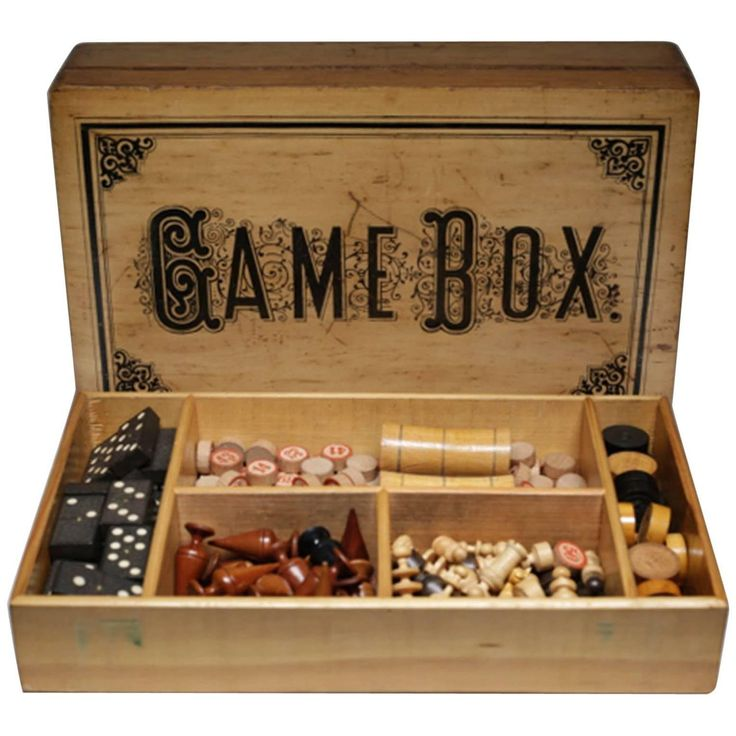 Turn of the Century Game Box 'Chess, Checkers, Asalto, Lotto and Dominos'