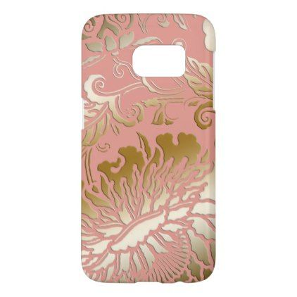 Elegant Rose Gold Embossed Style Floral Samsung Galaxy S7 Case - rose gold style stylish diy idea custom