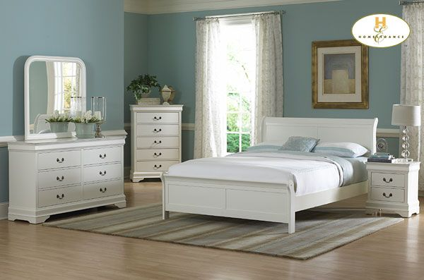 Marianne Collection White Bedroom Set (Queen Size Bed, Nightstand, Dresser)
