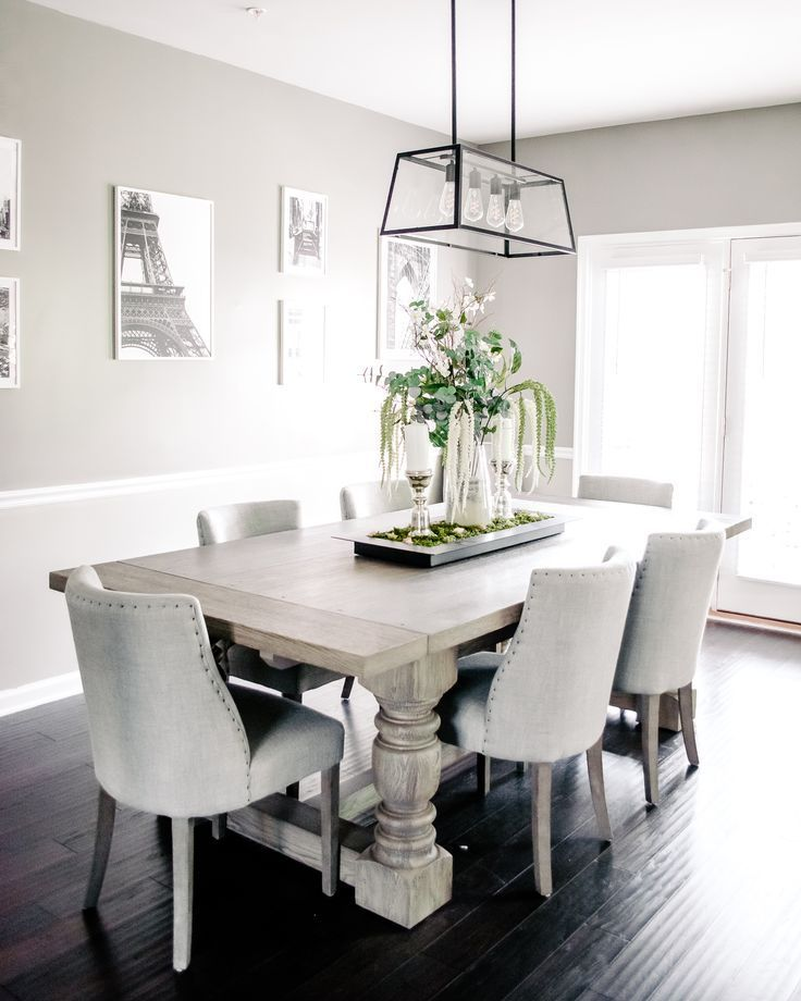 Simple Dining Room Decor For A Clean Neutral And Rustic Glam Style Farmhouse Modern Minimalist Dining Room Dining Table In Kitchen Dining Room Table Decor