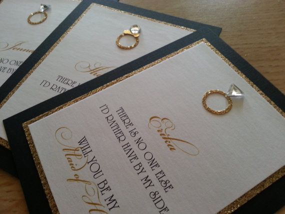 Will You Be My Bridesmaid... Cards (Set of 4)