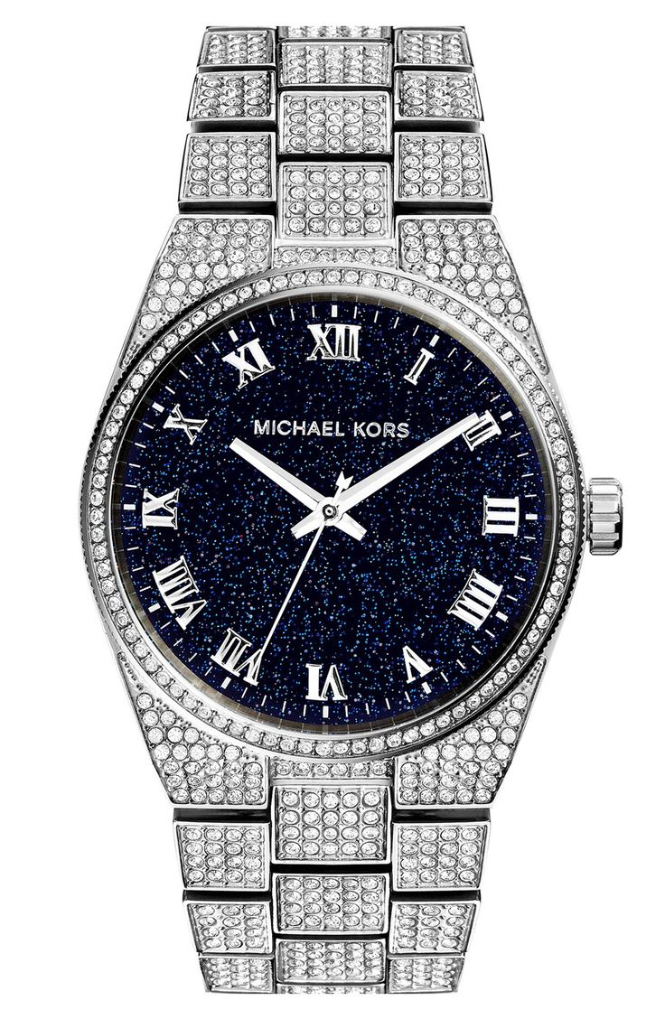 Love the sparkly crystals on this silver and navy Michael Kors watch.