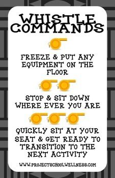 PE Whistle Commands Poster | Free | TPT | Classroom Management | Physical Education #EdChat #Physed