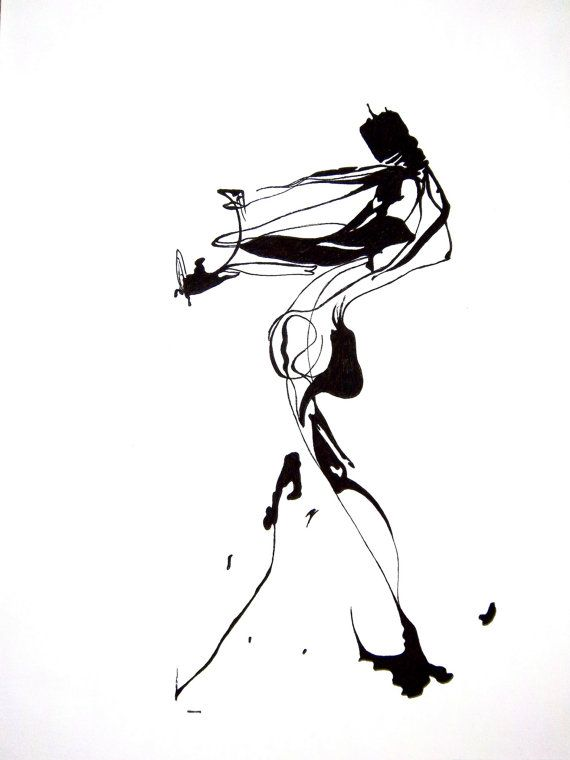 Abstract Human Figure Ink Drawing