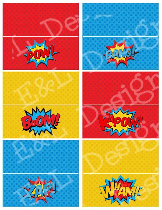 Superhero Treat Bag Toppers Superhero Party by EandLdesigns