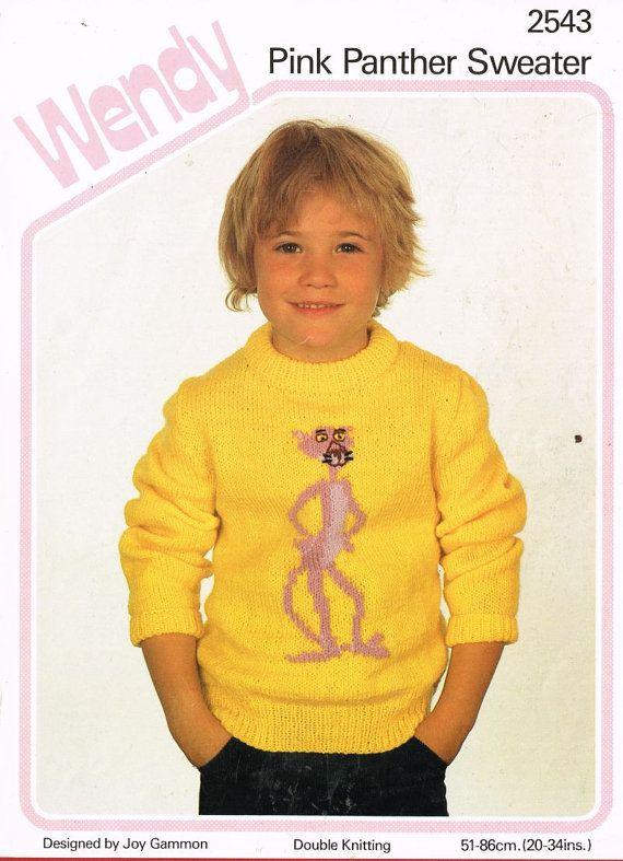 Wendy 2543 child pink panther picture jumper vintage by Ellisadine, £1.25