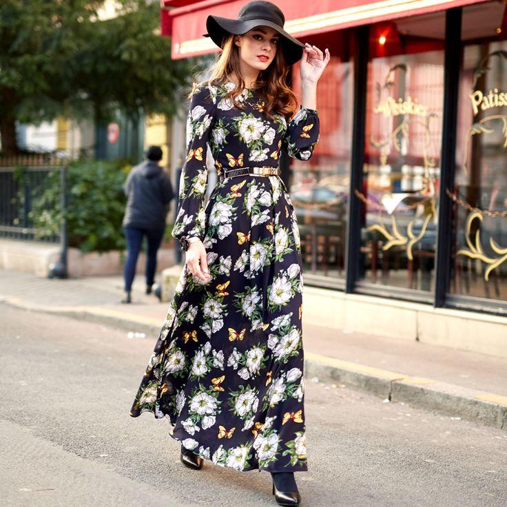 HIGH QUALITY New Fashion 2016 Women's Lantern Sleeve Gorgeous Floral Print Plus size Casual Maxi Long Dress alishoppbrasil