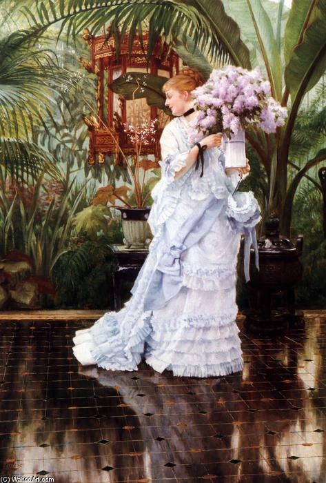 James Jacques Joseph Tissot >> huile sur toile >> Le Bouquet de Lilas