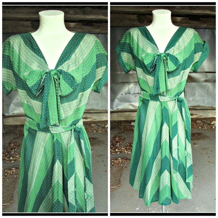 Vintage 1940s Green Chevron Day Dress Sheer Swing Dress Bow Belt Polly Brief M Medium by PeachburritoVintage on Etsy
