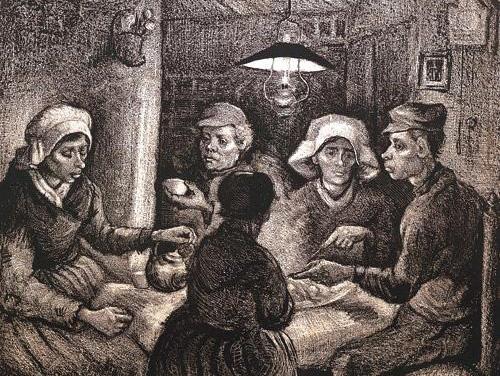 감자먹는 사람들- 빈센트 반 고흐- 캔버스에 유채,81.5×114.5cm, 1885년, 네덜란드 반 고흐 미술관    빈센트 반 고흐는 이 그림을 그의 첫 작품이라고 하였다. 그 이전의 작품들은 모두 습작이라는 것이다. 이렇게 말할 만큼 그는 이 그림에 애착이 있었다. 그는 특히 이 사람들의 손을 그리고 싶어 했다고 한다. 가난하지만 정직하게 사는 그들의 모습을 그리고 싶었던 것이다. 이는 삶의 먹고사는 문제로 고뇌하고 있는 사람들을 그린 것으로 볼 수 있다. 고흐 생전에 소외된 사람들에게 관심이 많았다. 술주정뱅이, 가난한 농부들을 찾아가 그들을 그리고 오히려 그들을 긍정적으로 바라보았다. 이 작품에서도 마찬가지이다. 의식주 때문에 고뇌하고 있는 사람들을 오히려 성스러운 분위기로 표현하고 있다.