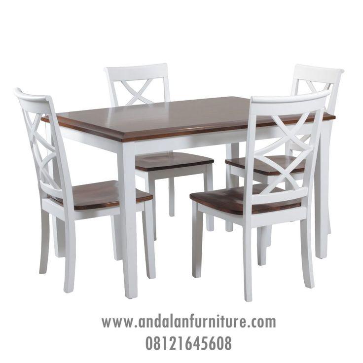 Set Meja Makan Klasik Putih Duco