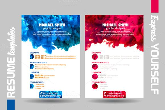 Resume templates with swirling water by @Graphicsauthor