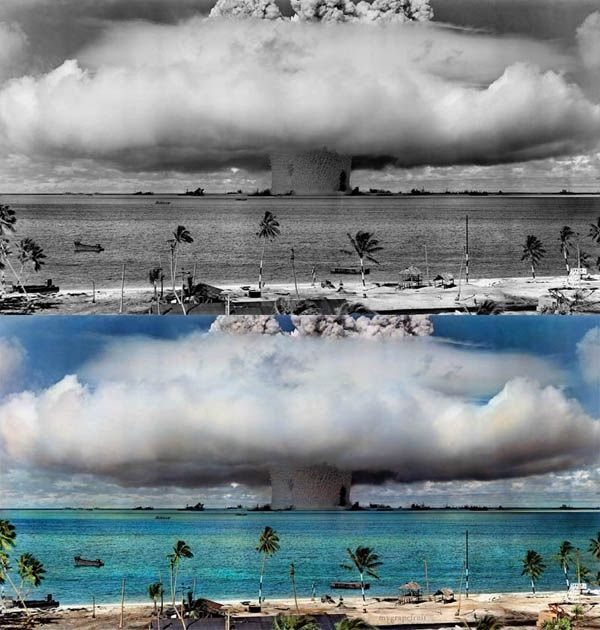Old-time photos seen through color. Check out some of these historical moments from history revamped to make the past look present, like this image of the Hydrogen Bomb. (via 22 Words)