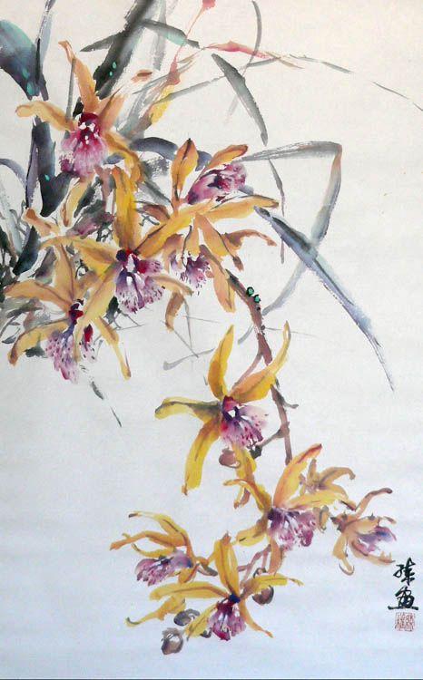 Orchids (2) (Spontaneous Style) - Lian Quan Zhen (Chinese-American,Watercolorist,)