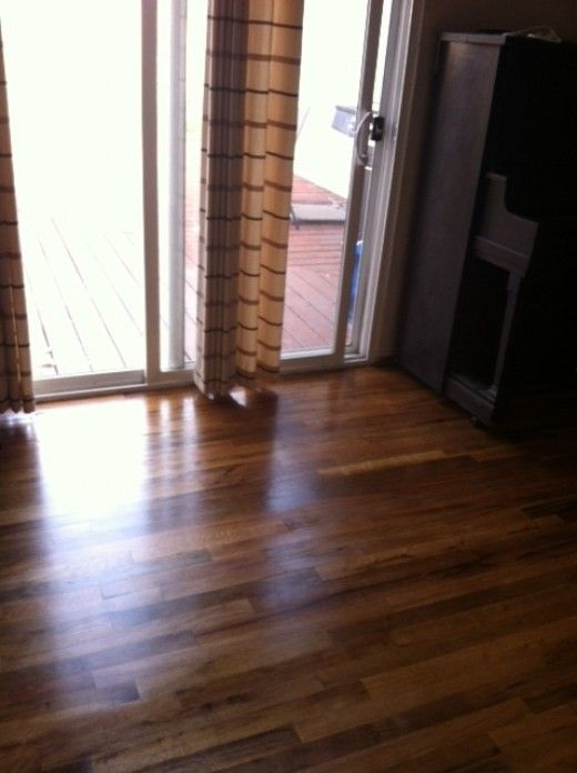 Instructions for how to stain a hardwood floor. It's not as difficult as you may think! Learn how to remove ugly old carpeting, sand a hardwood floor & apply wood stain for a beautiful shiny finish using Dura Seal