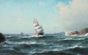 Haaland, Lauritz - I farlig farvann, 1904 / Jule- auksjon 2011 / Kunsthandel…