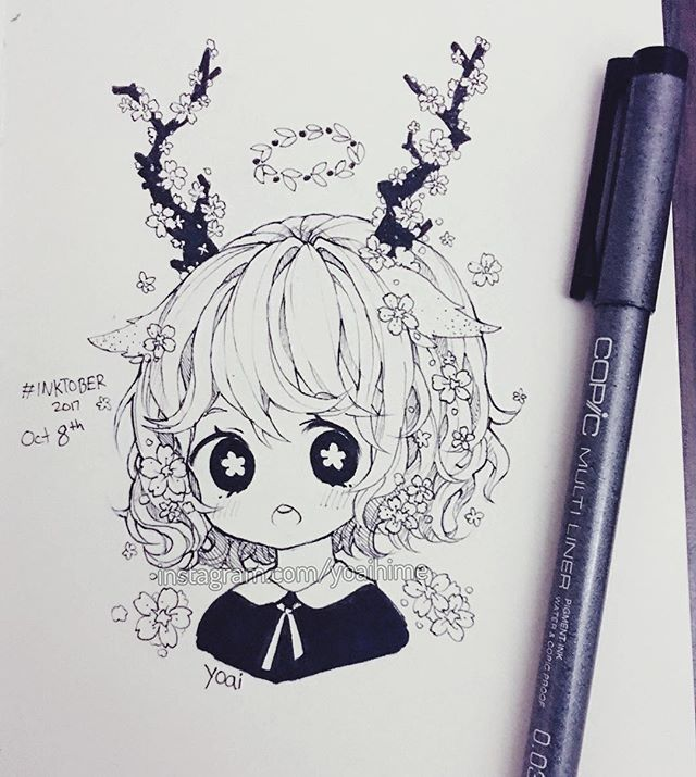 8th day complete...happy Thanksgiving as well! ヘ( ̄ω ̄ヘ). I won't be so active tomorrow with messages and stuff cause right now I am on a small Thanksgiving weekend vacation with my family (I am posting from hotel) but I will still post my inktober tomorrow and I will be back on Tuesday so sorry for late replies for now (T▽T). [thanksgiving in Canada is in October instead of November like in the US because it gets super deathly cold here very quickly so the crops die faster so we gotta hurry…