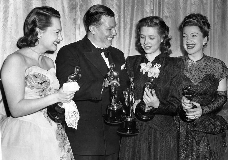 Winners at the Academy Awards: Olivia de Havilland (To Each His Own), Harold Russell (The Best Years of Our Lives), Cathy O'Donnell (who accepted for absentee Fredric March) and Anne Baxter (The Razor's Edge). March, 1947