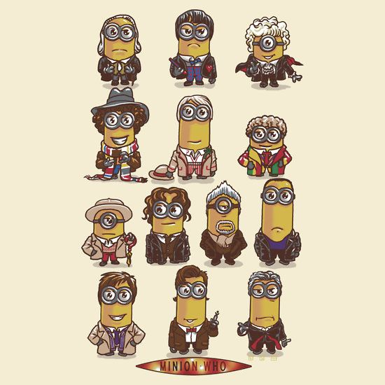 Minion Doctor Who T Shirt. All the doctors from past to present as minions. An amusing mashup shirt.