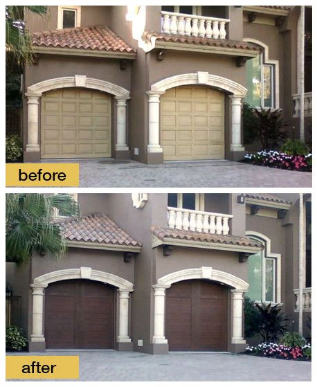 This Florida garage makeover features Clopay Canyon Ridge Collection faux wood carriage house style garage doors installed by D and D Garage Doors. www.clopaydoor.com