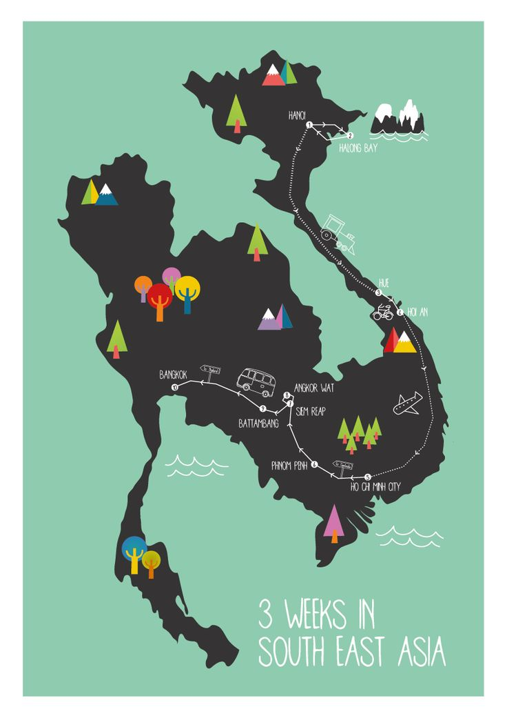 illustrated map south east asia