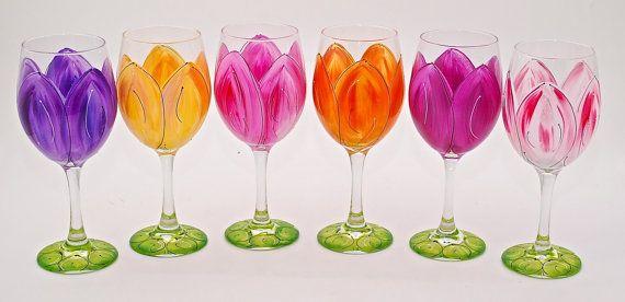 Hand Painted Tulip Wine Glasses  Perfect by LAEHandPaintedGlass, $23.00