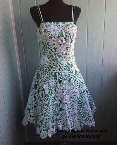 вязаное платье (из салфеток)
