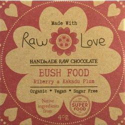 Raw Love Chocolate - Organic Cold Processed Raw Cacao Powder & Butter, Organic Erythritol, Organic Coconut Oil, Organic Coconut Butter, AustSuperFoods Wild Harvested Riberry & Wild Harvested Kakadu Plum, Organic Luo Han Guo Extract & Sea Salt