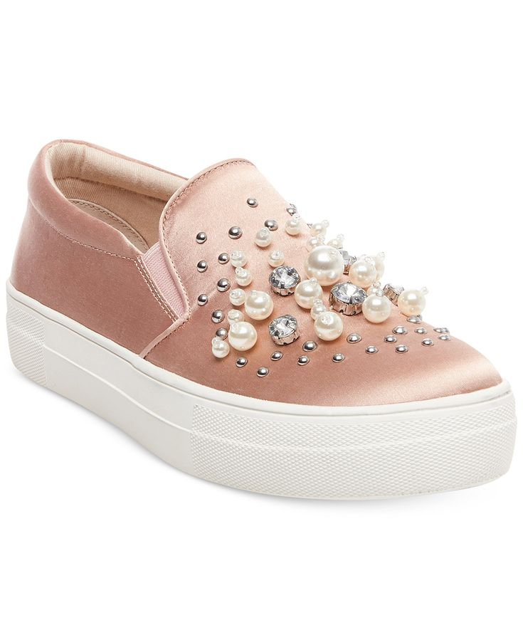 Steve Madden Women's Glamour Pearl-Embellished Sneakers - Sneakers - Shoes - Macy's