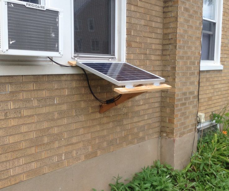 I wanted to power my TV, cable modem, router and other devices from solar. I can't mount panels to the roof and I don't want to run long runs of wire from out back. Why not hang the panel out the window like the AC unit?Rev 2 needs better hinges or straps out the window.