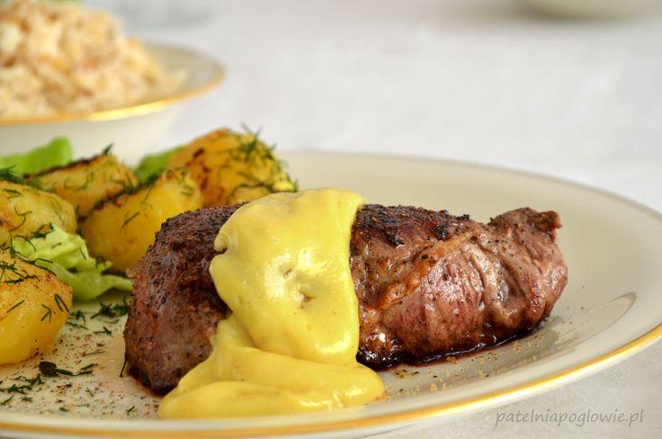 chateaubriand, befsztyk wołowy, boeuf chateaubriand, polędwica wołowa, przepis, ziemniaki chateau, sos berneński, bernaise sauce,